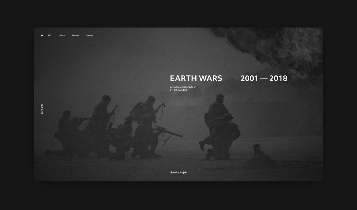 Startpage of the Earth Wars website